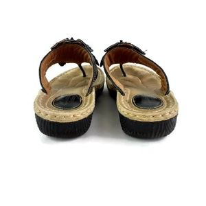 ebf55365b89413 Clarks Shoes - Clarks Artisan Black Leather Flower Thong Sandals